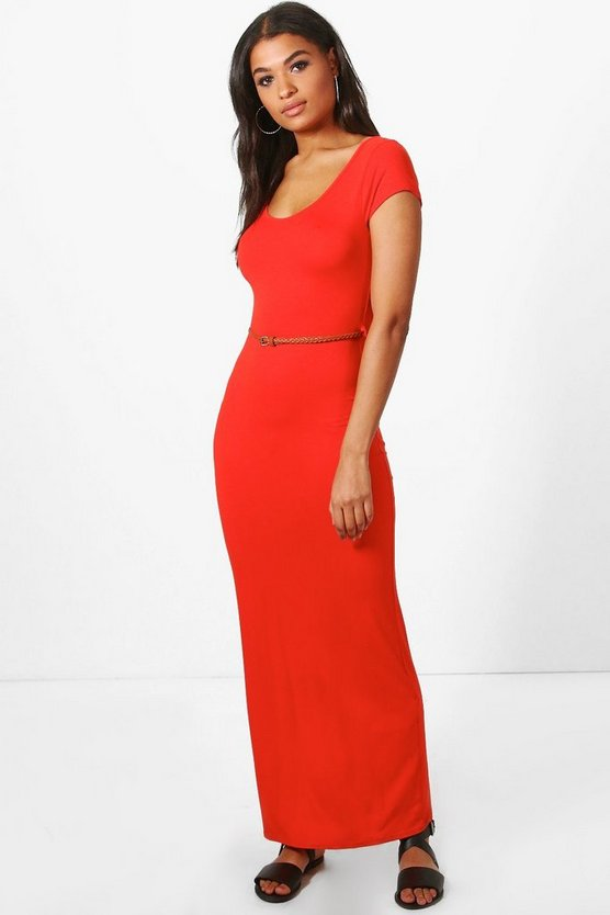 Lottie Cap Sleeve Belted Maxi Dress