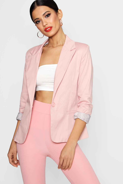 Colour Block Blazer  blush