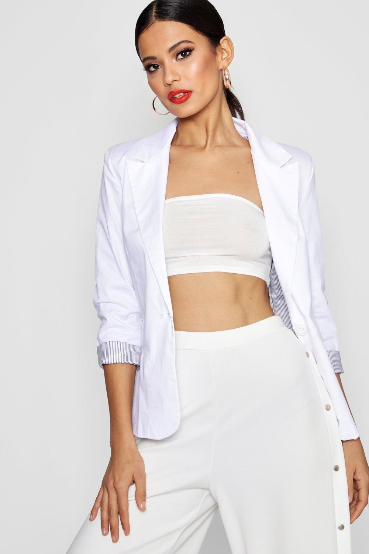 Colour Block Blazer  white