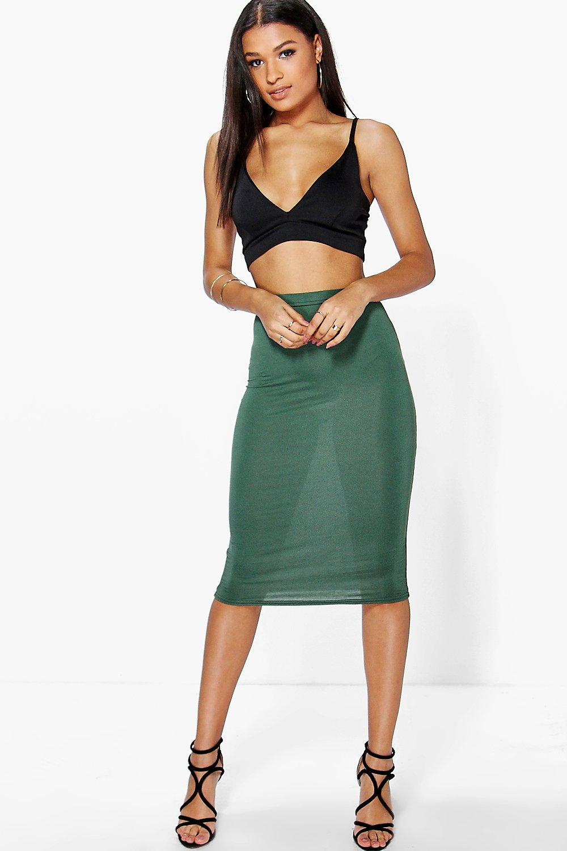 Midi Jersey Tube Skirt  khaki
