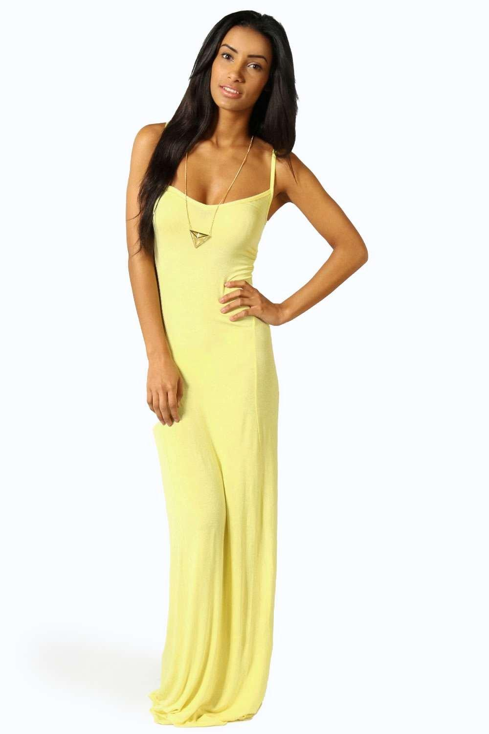 Strappy Cross Over Back Maxi Dress  yellow