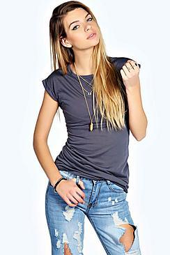 Olivia Roll Back Slub Tshirt