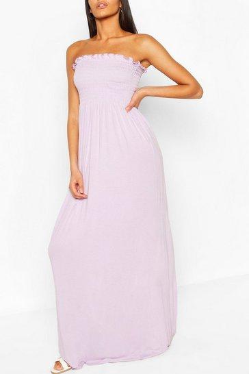 Lilac Shirred Bandeau Maxi Dress