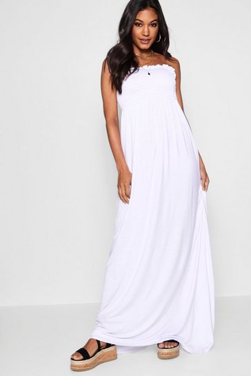White Shirred Bandeau Maxi Dress