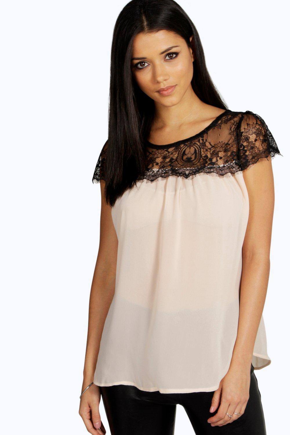 Lydia Lace Trim Chiffon Blouse