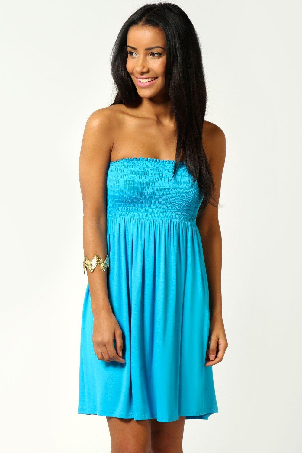 Lucy Shirred Bandeau Short Beach Dress