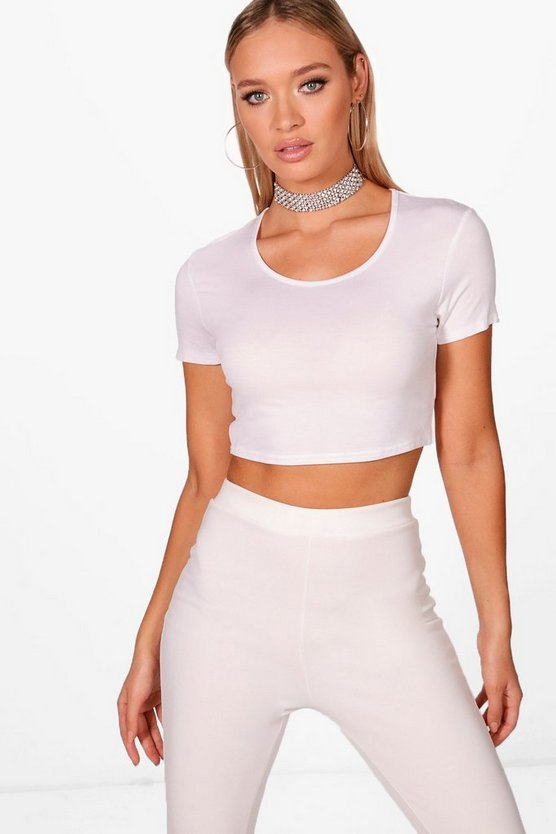 Nicole Basic Short Sleeve Crop Top
