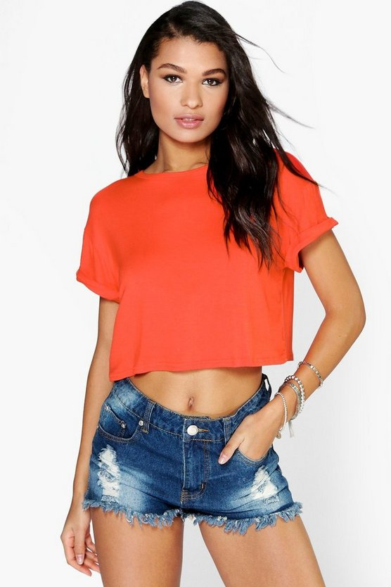 Sarah Crop Roll Back Sleeve Tee