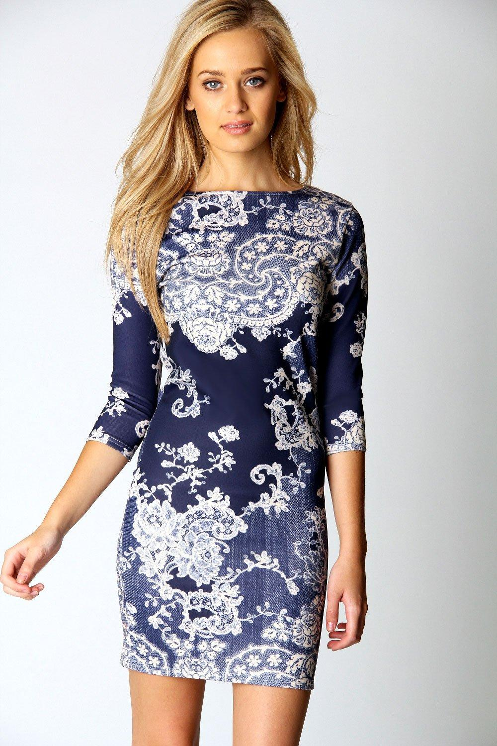 Darcey Printed Sleeve Bodycon Dress | Boohoo
