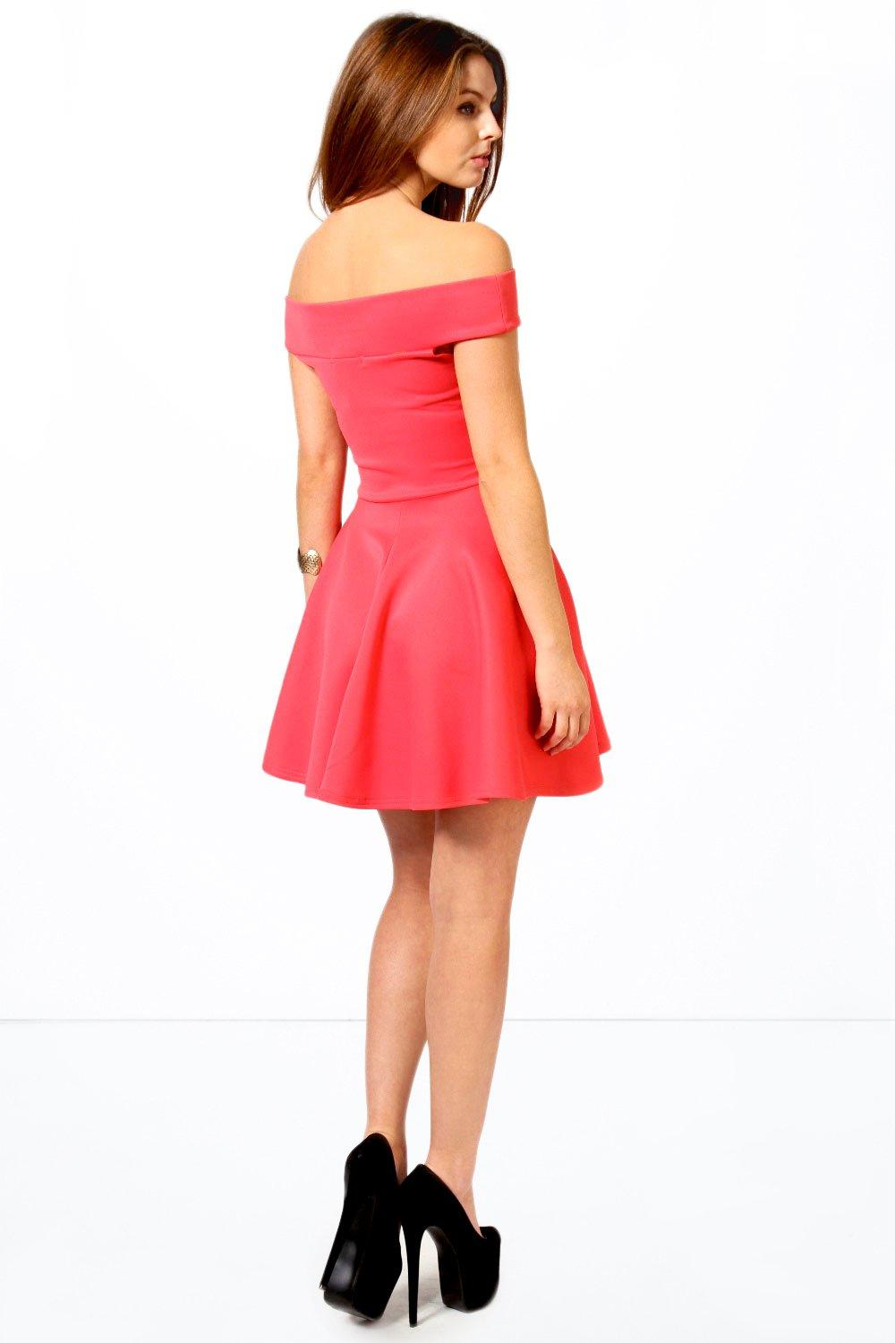 Boohoo Womens Tamsin Off The Shoulder Skater Dress