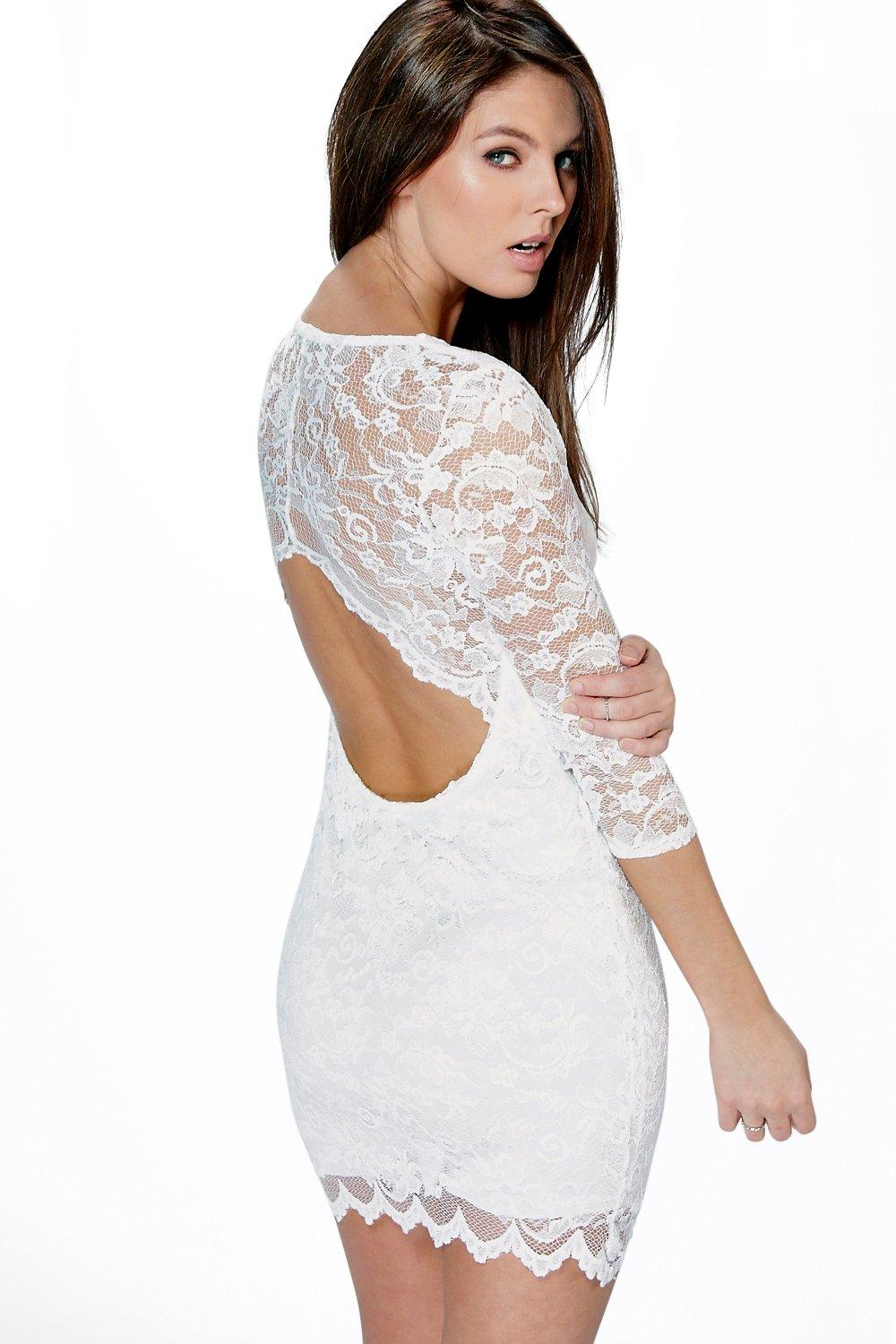 Nina Scallop Detail Open Back Lace Bodycon Dress