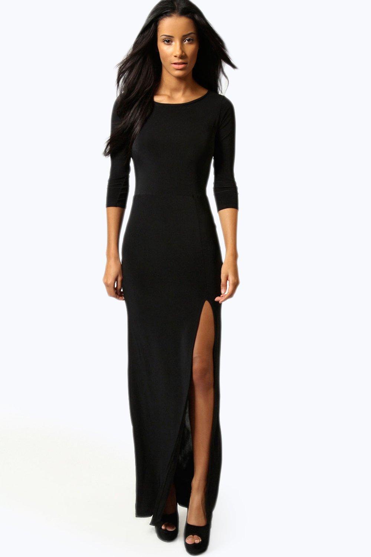 candice robe maxi pr s du corps fendue sur les c t s. Black Bedroom Furniture Sets. Home Design Ideas