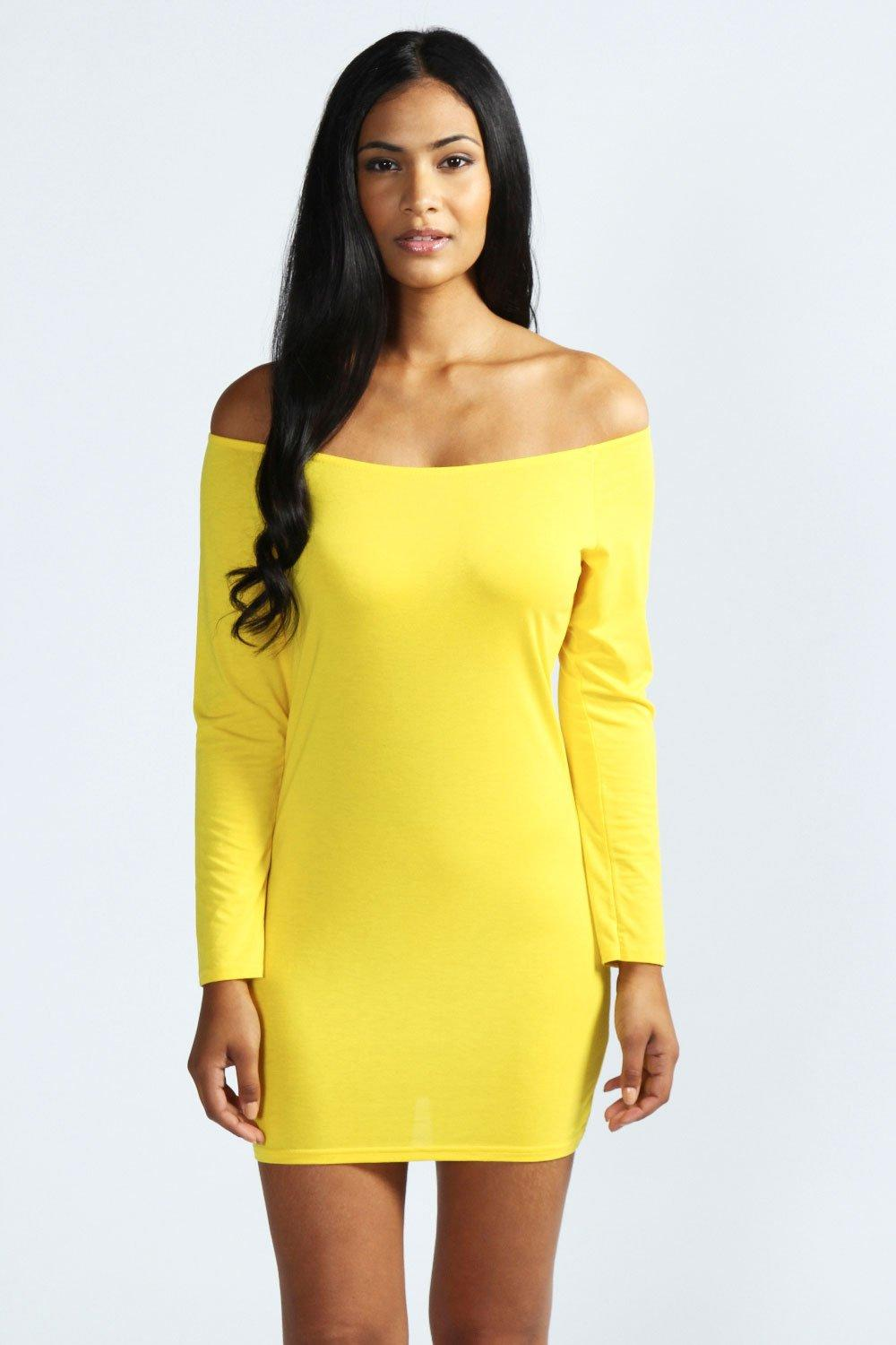 Boohoo-Womens-Ladies-Alice-Off-The-Shoulder-Long-Sleeve-Bodycon-Dress-BC1A