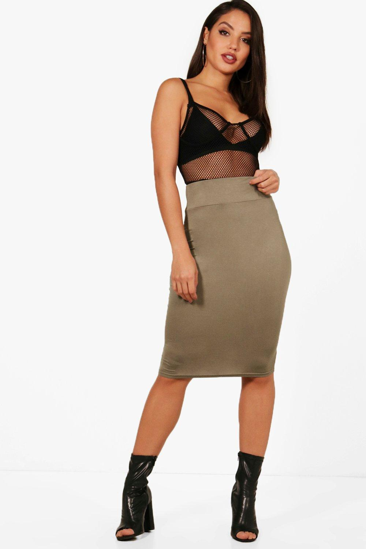 Jersey Midi Length Tube Skirt  khaki