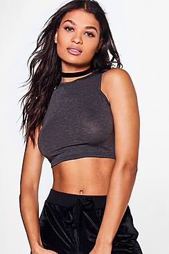Sara Slash Neck Crop Top