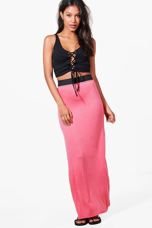 boohoo womens helena contrast waistband jersey maxi skirt