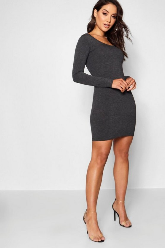 Long Sleeve Scoop Neck Bodycon Dress