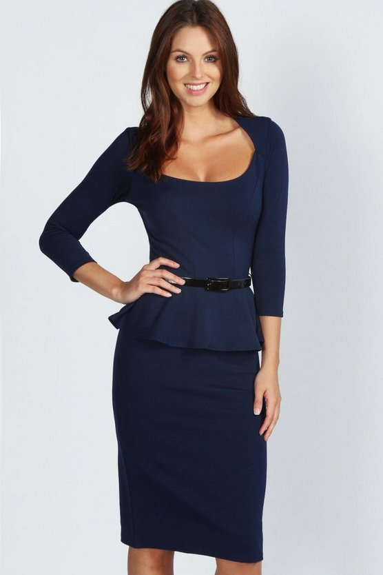 Karmine Long Sleeve Belted Peplum Midi Dress