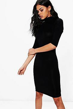 Nancy High Neck 3/4 Sleeve Bodycon Dress