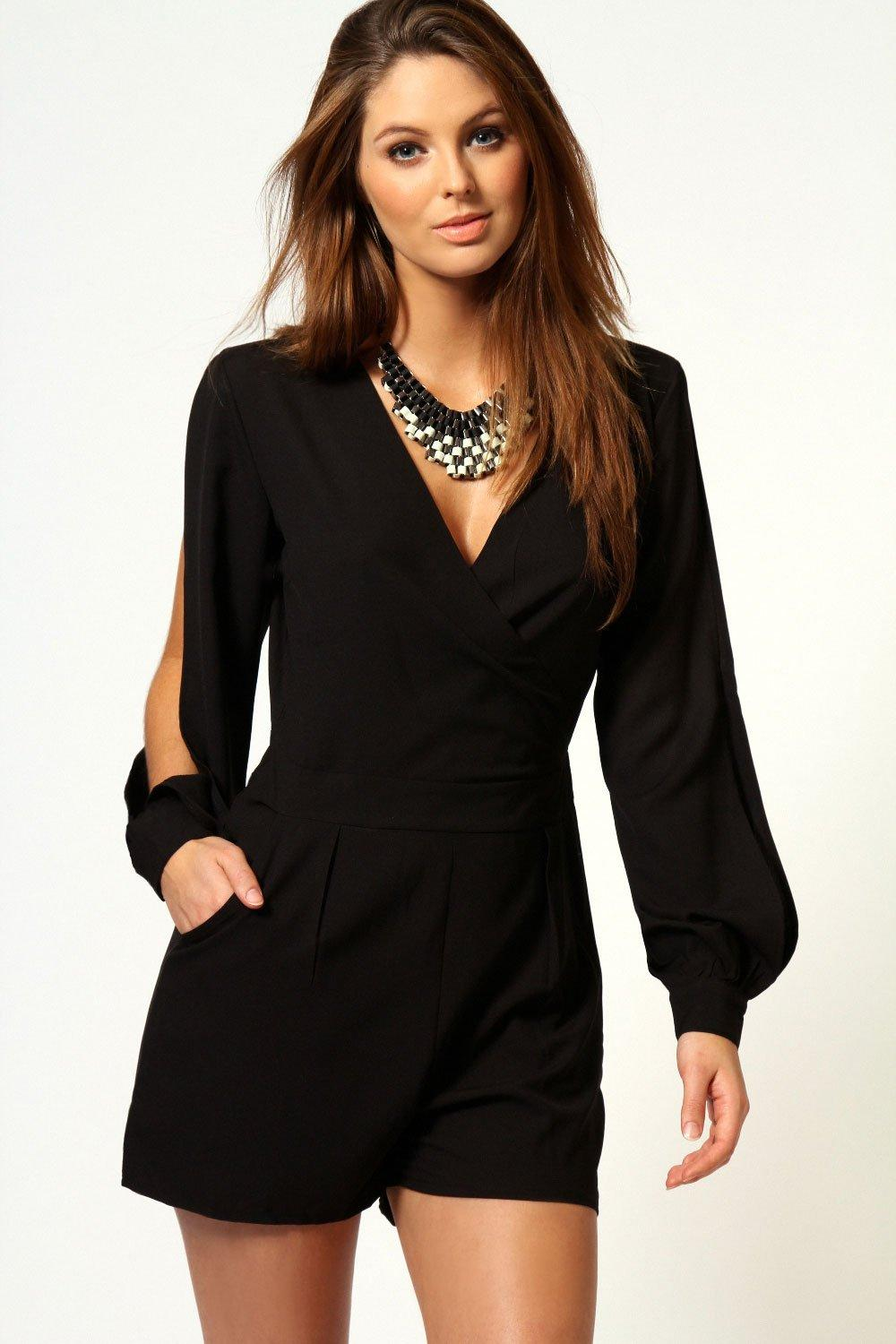 Olivia Split Sleeve Cross Over Front Playsuit