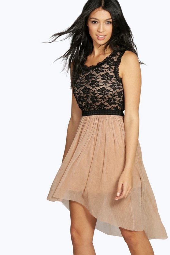 Dottie Lace Top Dip Hem Dress