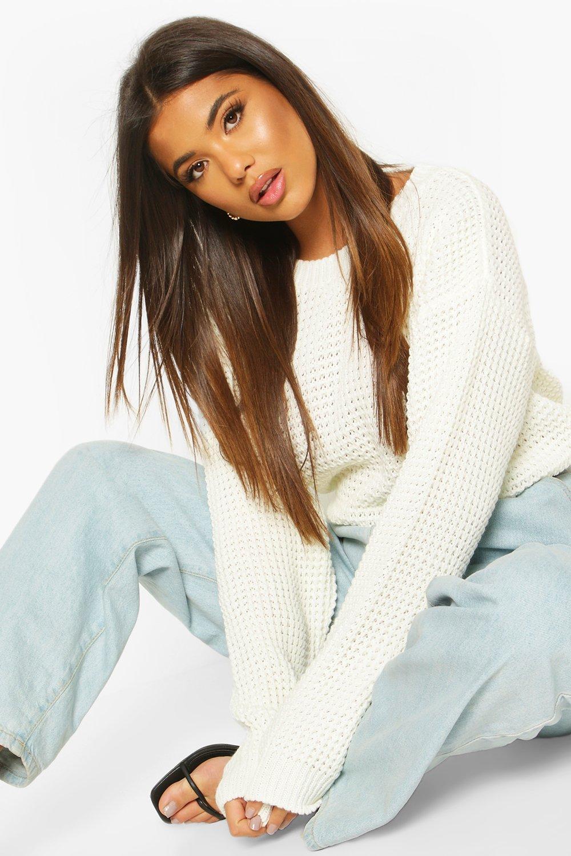 Womens Übergroßer Vintage-Pullover - Creme - S, Creme - Boohoo.com