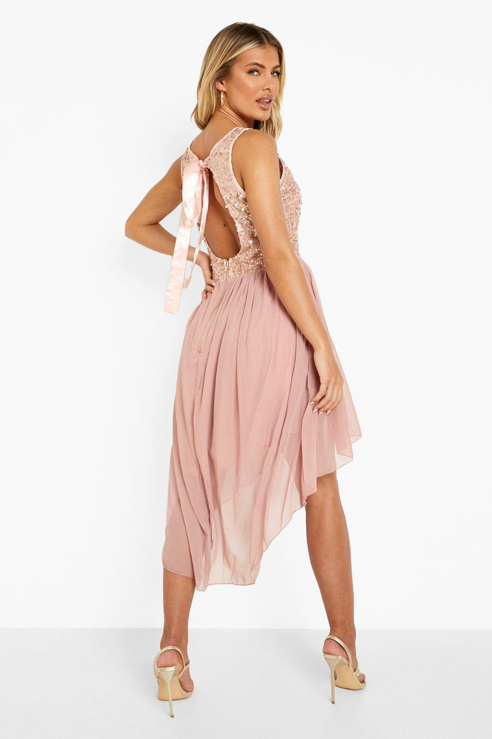 Jess Sequin Top Open Back Chiffon Dip Hem Dress - Boohoo