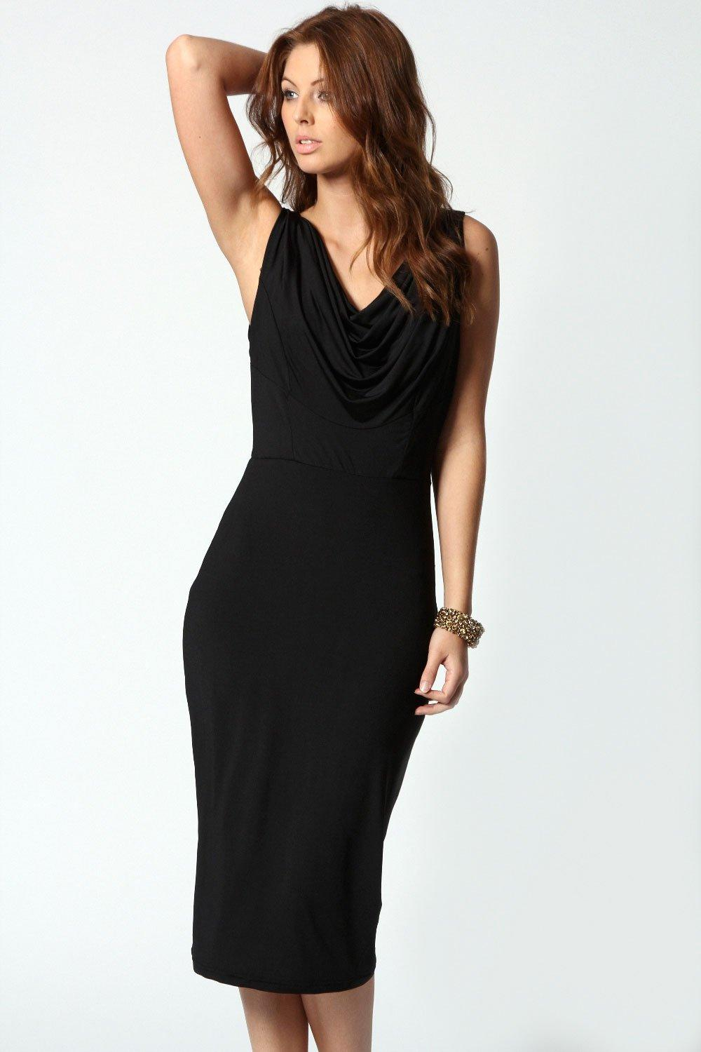 Mia Slinky Cowl Drape Back Midi Dress