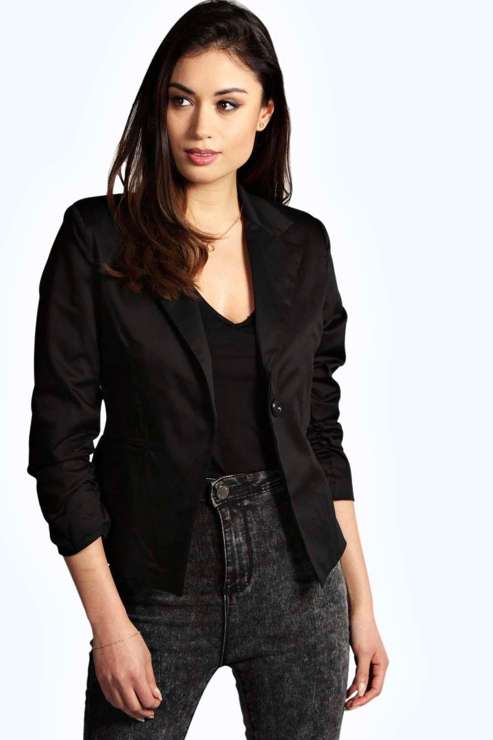 Kelsey Ruched Sleeve Woven Blazer