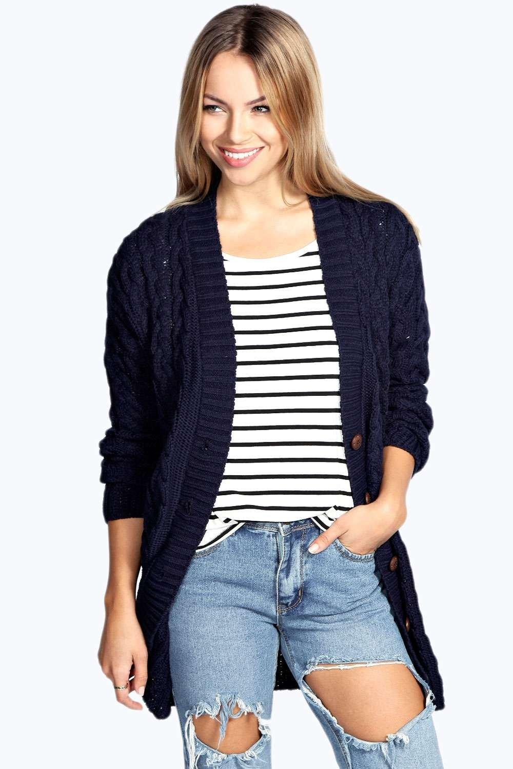 Lucy Cable Knit Cardigan | Boohoo