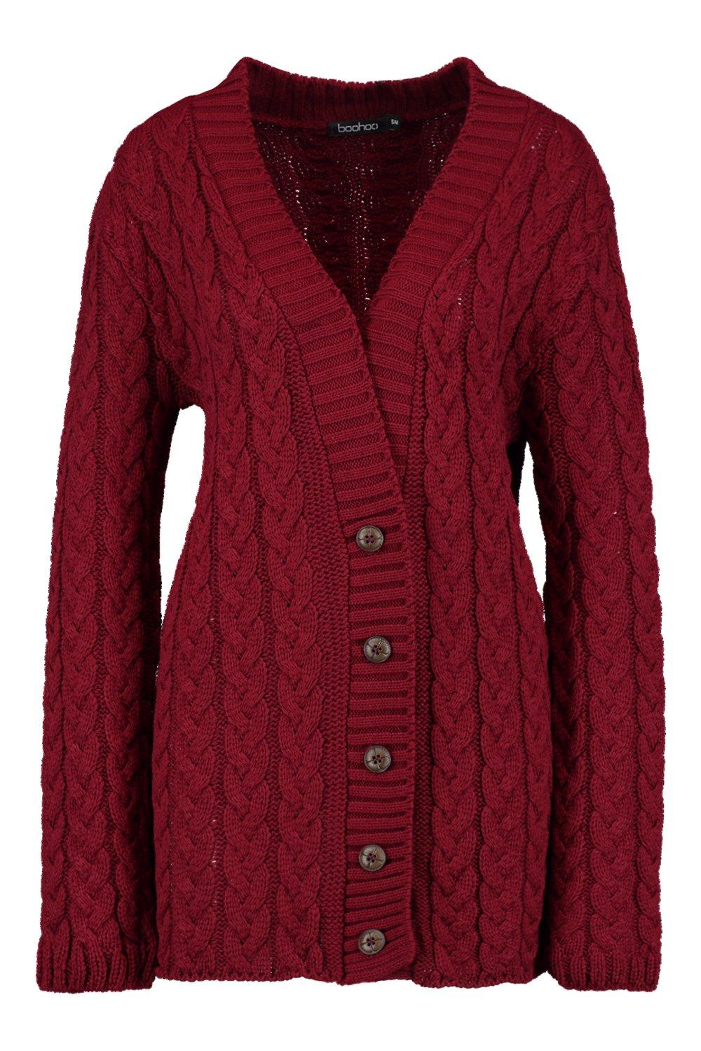 Knitting Cardigan For Ladies : Boohoo womens lucy cable knit cardigan ebay
