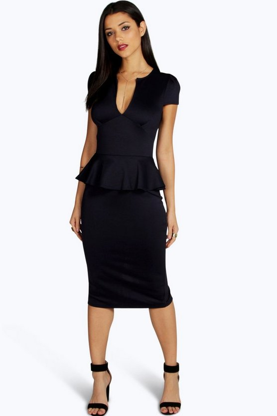 Emily Slit Neck Cap Sleeve Peplum Midi Dress