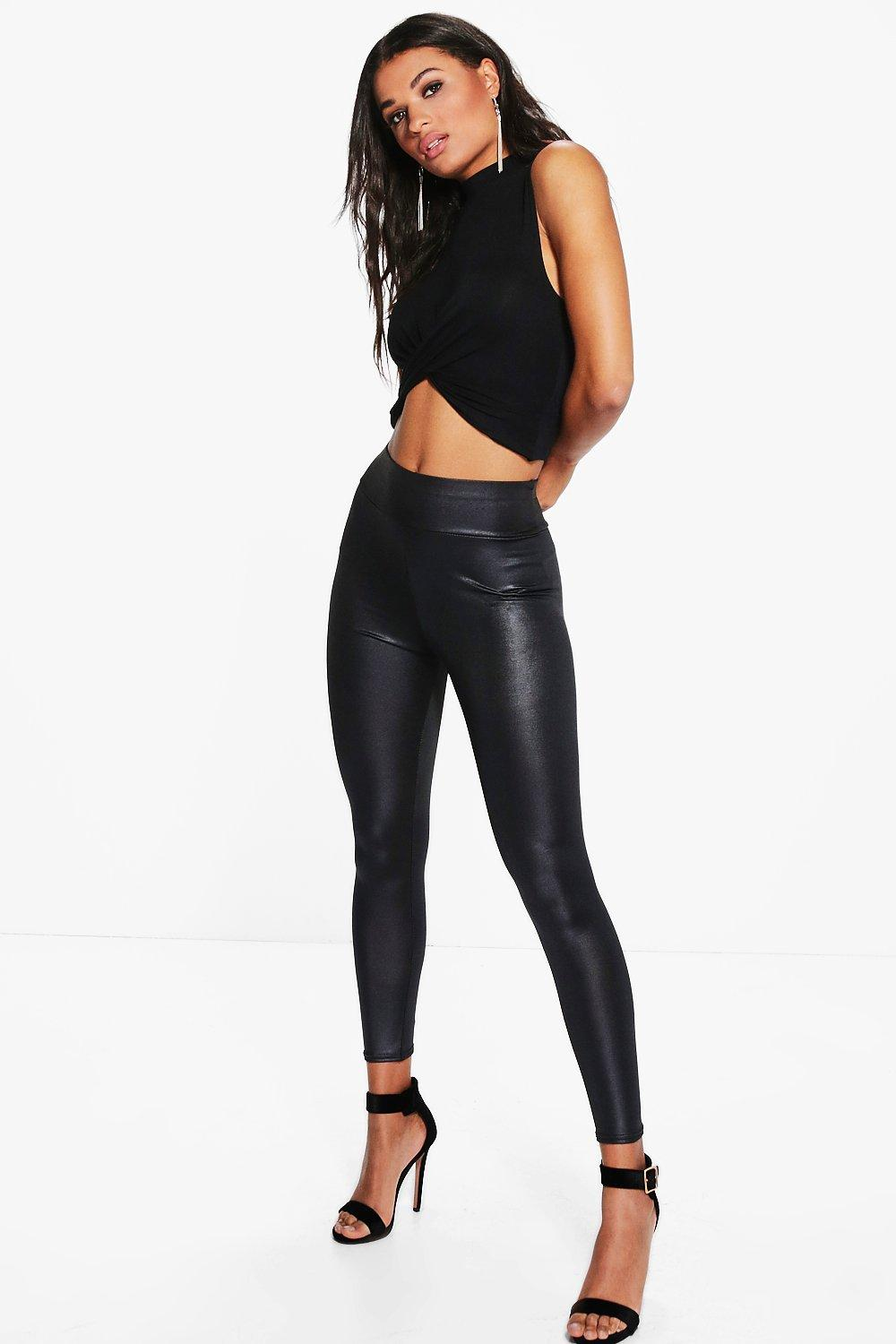 Beth High Waist Wet Look Leggings black
