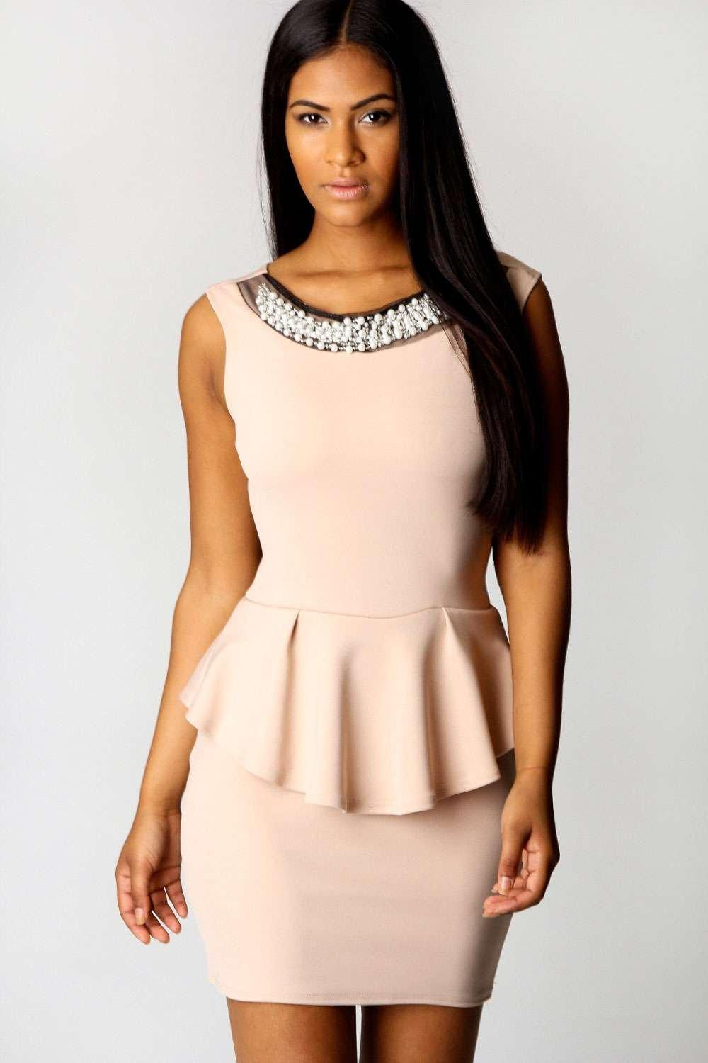 Tiffany Embellished Neck Peplum Dress