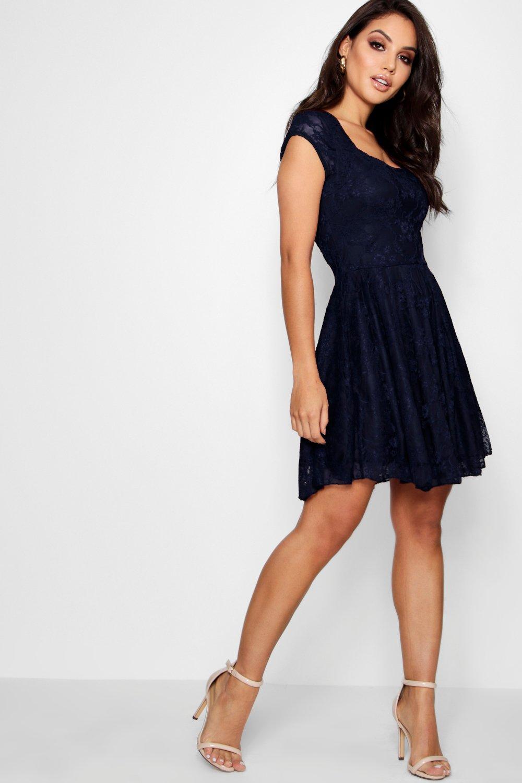 Caroline Cap Sleeve Lace Skater Dress | Boohoo