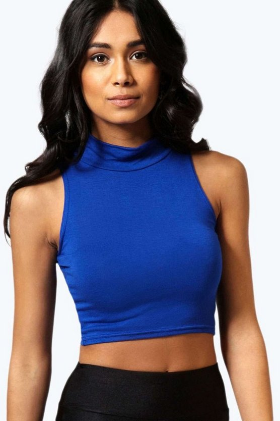 Victoria Basic Roll Neck Sleeveless Crop Top