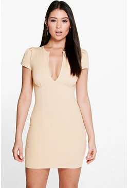 Billie V Neck Cap Sleeve Bodycon Dress
