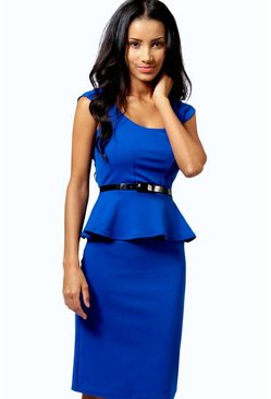 Keeley Peplum Belted Midi Dress