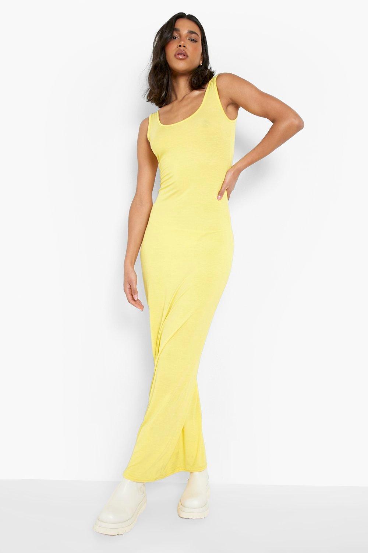 Scoop Neck Maxi Dress  yellow