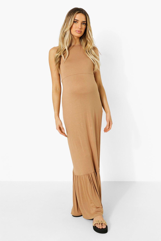 Boohoo Maternity Halter Frill Hem Maxi Dress, Camel