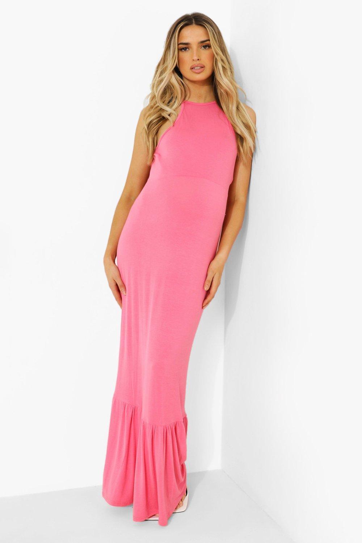 Boohoo Maternity Halter Frill Hem Maxi Dress, Coral