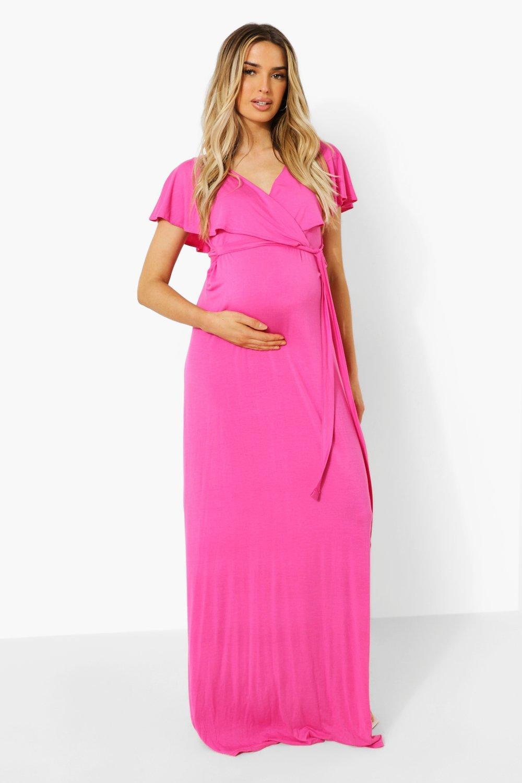 Boohoo Maternity Wrap Tie Waist Maxi Dress, Bright Pink