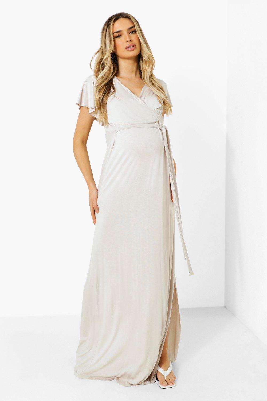 Boohoo Maternity Wrap Tie Waist Maxi Dress, Light Stone