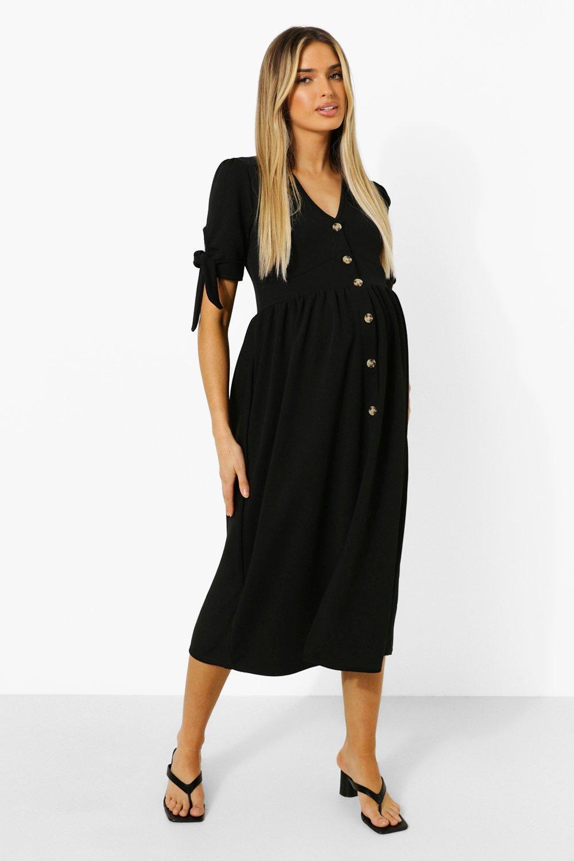 Boohoo Maternity Button Down Midi Dress