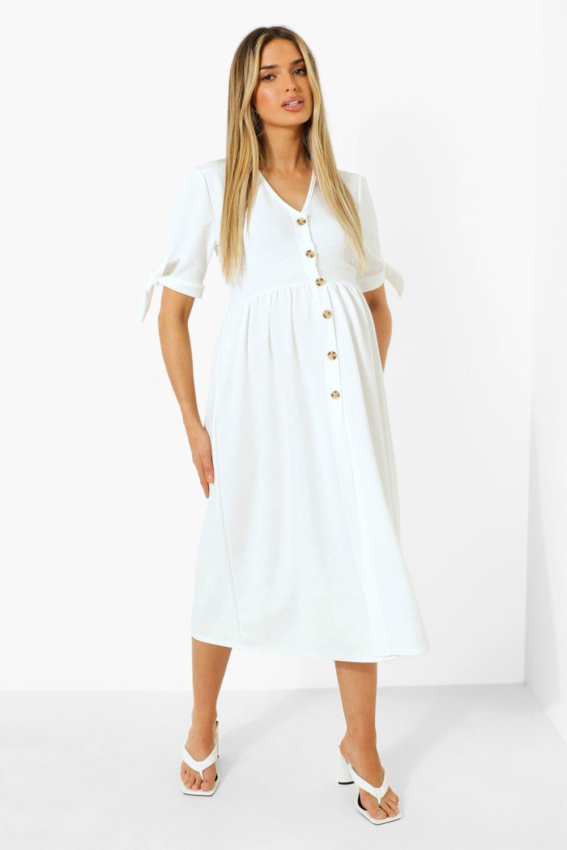 Boohoo Maternity Button Down Midi Dress, Ivory