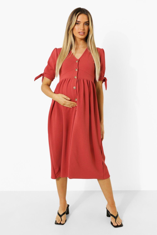 Boohoo Maternity Button Down Midi Dress, Rust