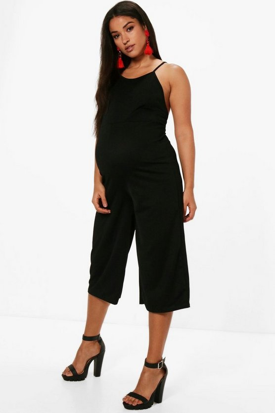 Maternity Melissa Crepe Tailored Dungaree Jumpsuit