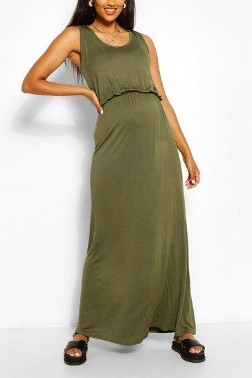 Khaki Maternity Scoop Neck Shirred Maxi Dress