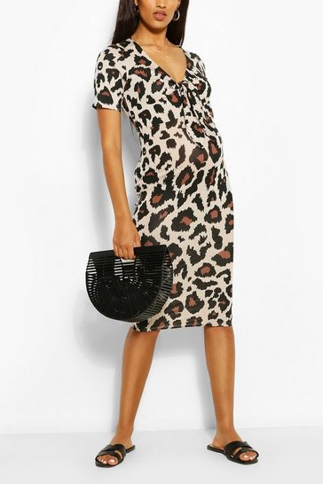 Tan Maternity Tie Front Leopard Midi Dress