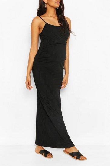 Black Maternity Sccop Neck Tie Front Maxi Dress